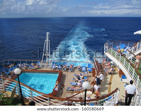 FORT LAUDERDALE, FLORIDA - DEC 20: Ruby Princess, a Grand-class cruise ship owned by Princess Cruises, seen leaving Fort Lauderdale, Florida, on December 20, 2009. She was built in 2008 in Italy. - stock photo