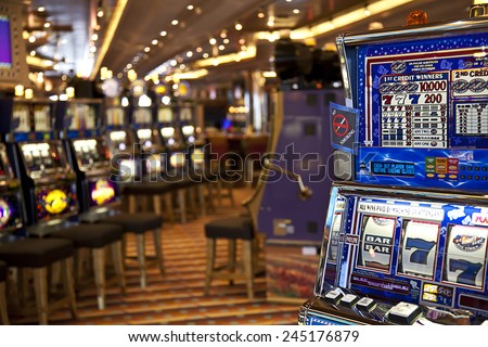 FORT LAUDERDALE, FLORIDA-MARCH 22:  The casino on the Carnival Freedom cruise ship is ready for tourists on its Caribbean cruise departing March 22, 2009 from Ft. Lauderdale. - stock photo