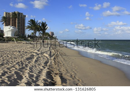 FORT LAUDERDALE, FLORIDA - OCTOBER 12: Fort Lauderdale beach south of Sunrise Boulevard is one of 7 miles of public beach destination north of downtown on October 12, 2012 in Fort Lauderdale, Florida. - stock photo