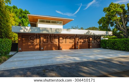 Fort Lauderdale, Florida USA - August 12, 2015: Beautiful contemporary style waterfront home in the historic Las Olas residential district of Fort Lauderdale. - stock photo