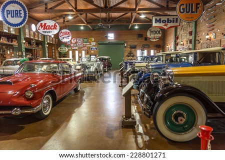 FORT LAUDERDALE, FLORIDA, USA - AUGUST 30: Fort Lauderdale Antique Car Museum exhibits a collection of Packard automobiles on August 30, 2014 in Fort Lauderdale, Florida, USA.  - stock photo