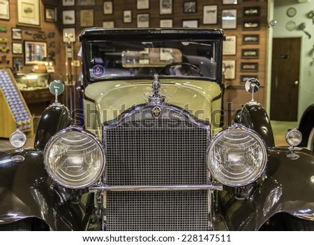 FORT LAUDERDALE, FLORIDA, USA - AUGUST 30: Fort Lauderdale Antique Car Museum exhibits collection of Packard autos on August 30, 2014 in Fort Lauderdale, Florida, USA. Collection includes 22 Packards - stock photo