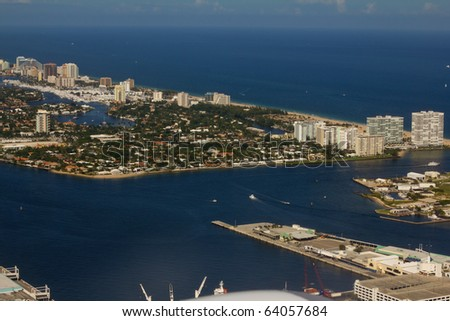 Fort Lauderdale from air - stock photo