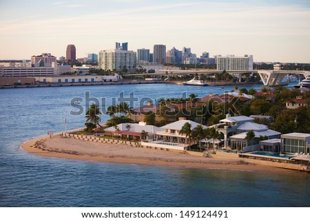 Fort Lauderdale High End Homes and  City Skyline - stock photo