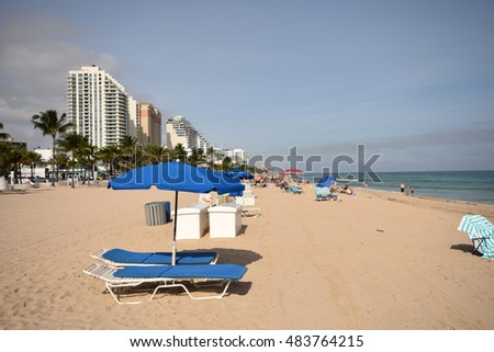 FORT LAUDERDALE - JANUARY 15: Tourists and locals enjoy a day on Fort Lauderdale Beach, Florida on January 15, 2015. It is a major tourist destination of Florida