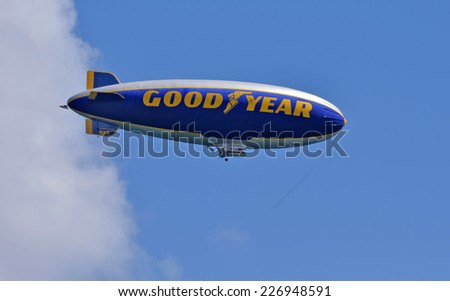 FORT LAUDERDALE - OCTOBER 11: Good Year blimp flies up and down the Florida coastline near Fort Lauderdale on October 11, 2014 - stock photo