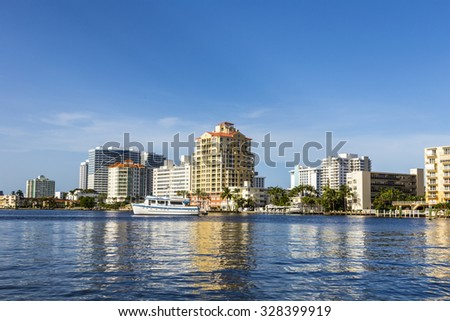 FORT LAUDERDALE, USA - AUG 20, 2014: Boats at waterfront homes in Fort Lauderdale. There are 165 miles of waterways within the city limits.