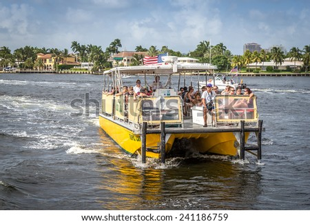 FORT LAUDERDALE, USA - AUGUST 30, 2014 :Water taxi in Fort Lauderdale on August 30, 2014 in Fort Lauderdale - stock photo