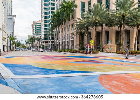 FORT LAUDERDALE, USA - DEC 6, 2015: Street scene of Las Olas Boulevard in downtown Fort Lauderdale, Florida, USA - stock photo