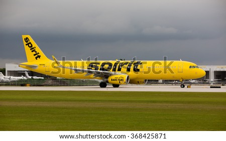 FORT LAUDERDALE, USA - JANUARY 26, 2016: A Spirit Airlines Airbus A320 at the Fort Lauderdale/Hollywood International Airport, Florida. Spirit Airlines has its operating base in Fort Lauderdale. - stock photo