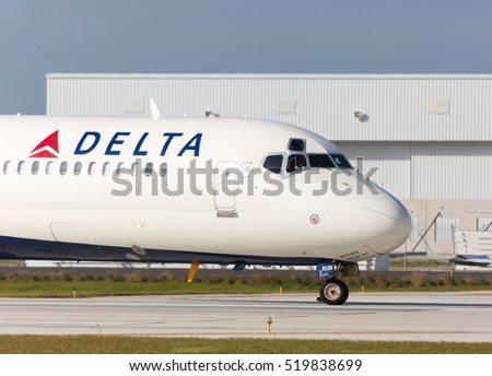 Fort Lauderdale, USA - November 21, 2016: Delta Boeing 717 commercial aircraft at the Fort Lauderdale/Hollywood International airport.