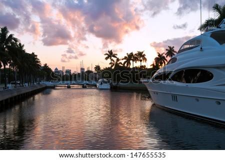Fort Lauderdale yachts near Las Olas Boulevard, the main street, Miami, Florida, USA - stock photo