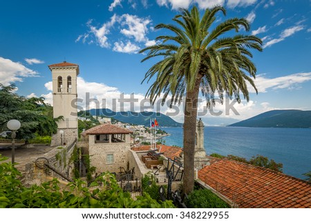 Fort Mare fortress. towers, historical museum and The Bay of Kotor landscape. Montenegro - stock photo