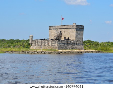 Fort Matanzas near St. Augustine, Florida was constructed between 1740-1742. It as Spains last effort to ward offf the British. - stock photo