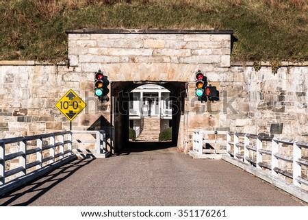 Fort Monroe in Hampton, Virginia Bridge and Tunnel - stock photo