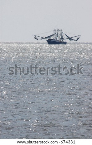 Fort Myers Beach Shrimp Boat with foreground text spacing