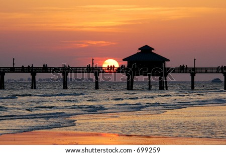 Fort Myers Beach sunset - stock photo