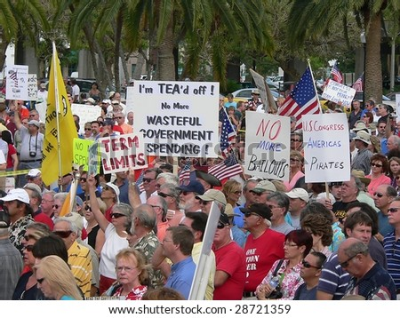 FORT MYERS, FL - APRIL 15: Tax Day Tea Party event crowd in Ft. Myers on April 15, 2009 in Fort Myers.