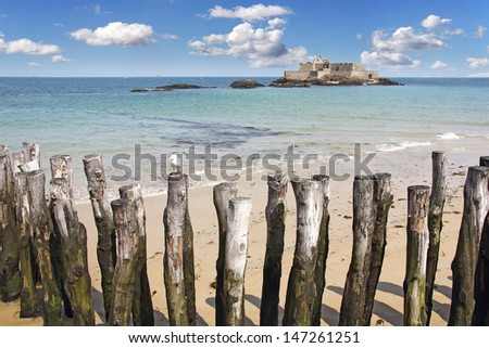 Fort national on island Petit Be in Saint-Malo, Brittany, France - stock photo