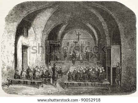 Fort-Neuf chapel old illustration, Algiers. Created by Gaildrau, published on L'Illustration, Journal Universel, Paris, 1858 - stock photo