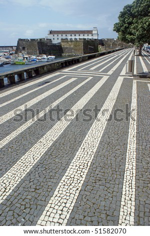 Fort of Sao Bras in Ponta Delgada at the island of Sao Miguel which is a part of the Azores - stock photo