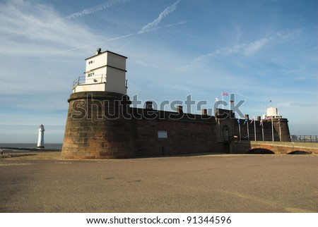Fort Perch Rock at New Brighton merseyside united kingdom with lighthouse in the background.