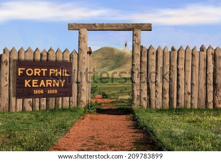Fort Phil Kearny Old West Historic Site Along the Bozeman Trail National Historic Landmark in Wyoming - stock photo