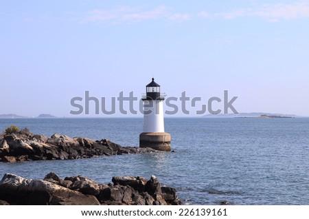 Fort Pickering (Winter Island) Lighthouse Located in Salem, Massachusetts. - stock photo