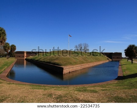 Fort Pulaski is a Civil War fortification at the mouth of the Savannah River in Georgia - stock photo