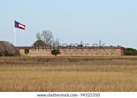 Fort Pulaski on the port of Savannah Georgia. - stock photo