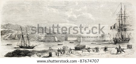Fort San Salvatore old view, Messina, Sicily. Created by Rouargue,  published on L'Illustration, Journal Universel, Paris, 1860 - stock photo