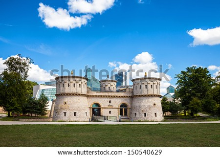 Fort Thungen, Mudam and the surrounding park with a beautiful cloudscape. - stock photo
