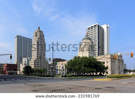 FORT WAYNE, IN - AUGUST 2: The downtown district in Fort Wayne, Indiana on August 2, 2014. Fort Wayne is the county seat of Allen County and the second largest city in Indiana. - stock photo
