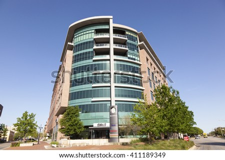 FORT WORTH, TX, USA - APR 6, 2016: Facade of a Modern Office Building in the city of Fort Worth. Texas, United States