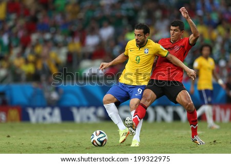 FORTALEZA, BRAZIL - JUNE 17, 2014: Fred of Brazil is seen during the World Cup Group A game between Brazil and Mexico at Castelao stadium. NO USE IN BRAZIL.