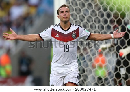 FORTALEZA, BRAZIL - June 21, 2014: Goetze of Germany celebrates during the World Cup Group G game between Germany and Ghana at Estadio Castelao. No Use in Brazil.  - stock photo