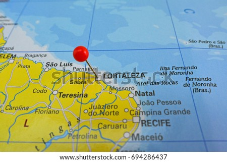 Fortaleza Marked On Map Red Pin Stock Photo Royalty Free 694286437
