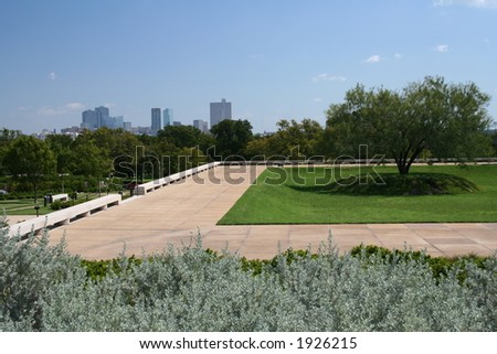 forth worth texas skyline from amom carter museum - stock photo