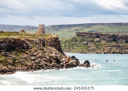 Fortification at Golden bay, Malta - stock photo