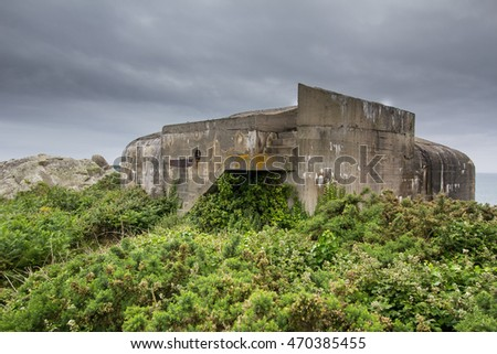 Fortification built on Guernsey by the occupying Nazi German Forces during WW2