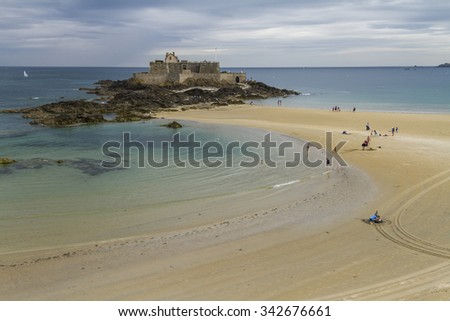 Fortification on beach at St. Malo.  - stock photo