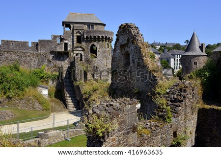 Fortifications of castle of Fougeres, commune and a sub-prefecture of the Ille-et-Vilaine department in Brittany in northwestern France - stock photo