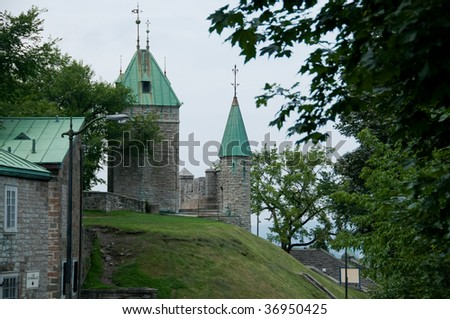 fortifications of La Citadelle  in the old city of Quebec, with grassy hill,  Quebec City, Canada - stock photo