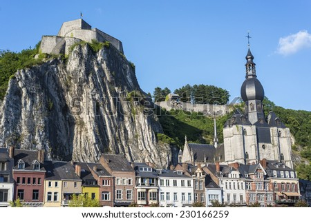Fortified Citadel, first built in the 11th century to control the Meuse valley in Dinant, Belgium - stock photo