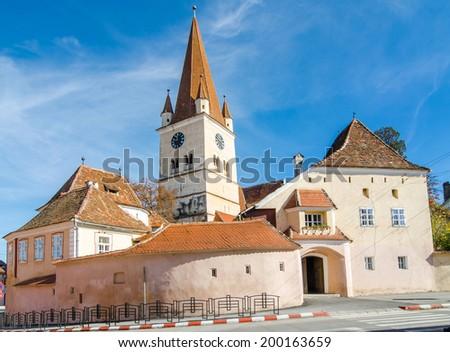 Fortified Evangelical Church Cisnadie, was built in 1349 in honor of Saint Walpurga. Sibiu, Transylvania, Romania. - stock photo