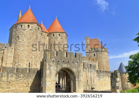 Fortified gate and towers of the medieval town of Carcassonne, Languedoc-Roussillon, France