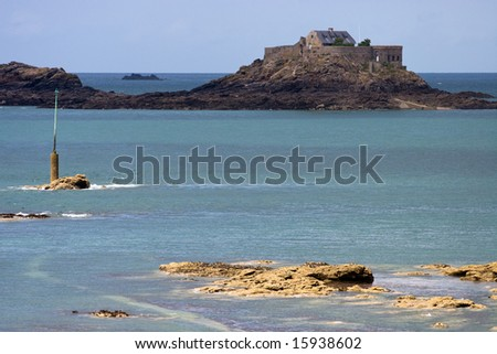 Fortified Island off Dinard, Near Saint Malo, France.