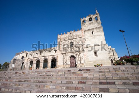 fortified medieval mission in Yuriria Mexico - stock photo