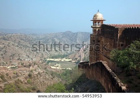 Fortified Stone Walls overlook a valley from Jaigarh Fort, near Jaipur, India.
