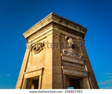 Fortified Tower in Gardjola Gardens, Malta - stock photo